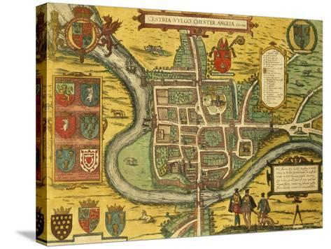 Map of Chester from Civitates Orbis Terrarum--Stretched Canvas Print