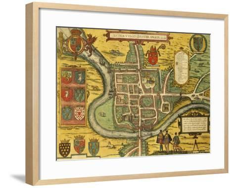 Map of Chester from Civitates Orbis Terrarum--Framed Art Print