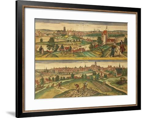 Map of Tours and Angers from Civitates Orbis Terrarum--Framed Art Print