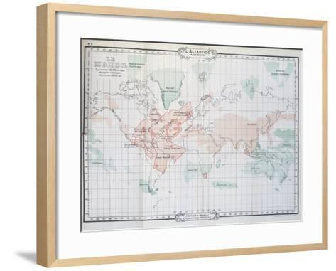 Map of World, from Histoire De L'Atlantide--Framed Art Print