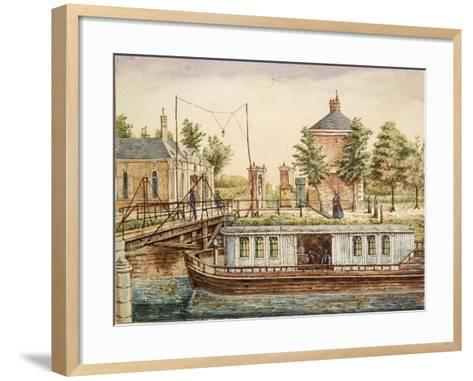 Boat on River at Rouen Gate, Where Jacques Boucher De Perthes--Framed Art Print
