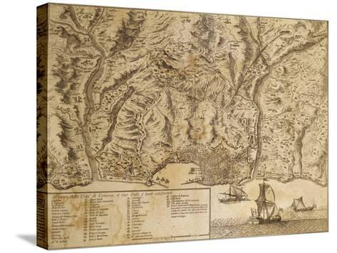 Map of Genoa with Encampments Erected During 1747 Siege and Surrounding Lands and Valleys--Stretched Canvas Print