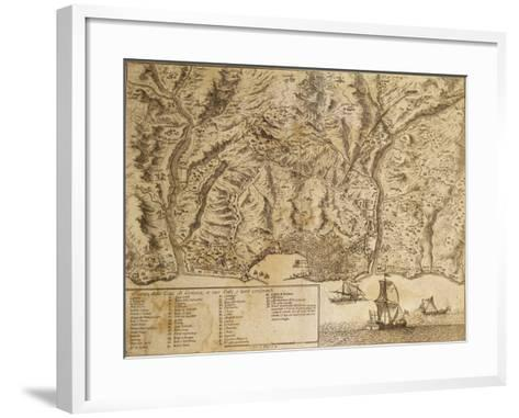 Map of Genoa with Encampments Erected During 1747 Siege and Surrounding Lands and Valleys--Framed Art Print
