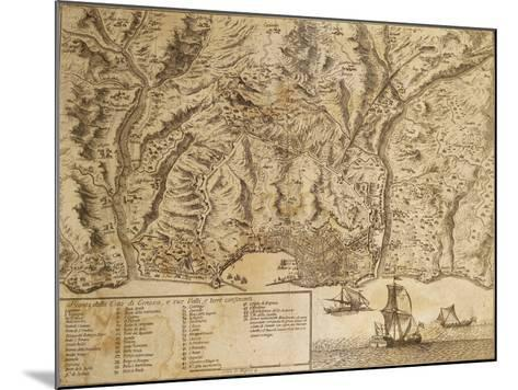 Map of Genoa with Encampments Erected During 1747 Siege and Surrounding Lands and Valleys--Mounted Giclee Print