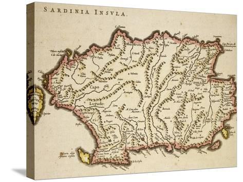 Map of Sardinia Region, by Joan Blaeu--Stretched Canvas Print