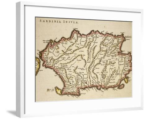Map of Sardinia Region, by Joan Blaeu--Framed Art Print