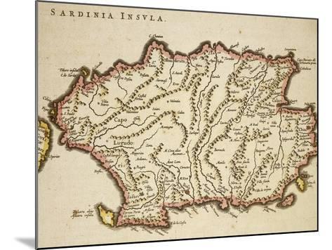 Map of Sardinia Region, by Joan Blaeu--Mounted Giclee Print