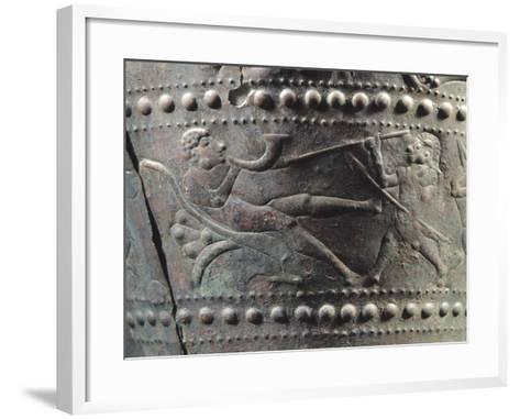 Benvenuti Situla, Detail Showing a Person Being Threatened by a Masked Warrior--Framed Art Print