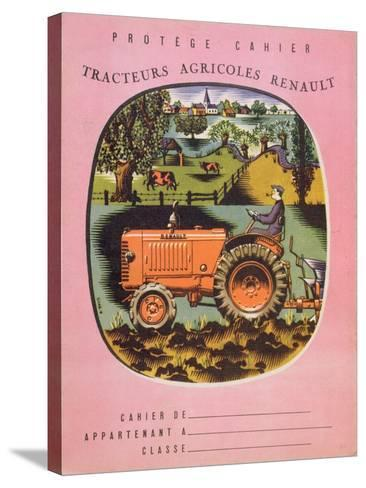 Cover of School Exercise Book Showing a Renault Tractor, 1950S--Stretched Canvas Print