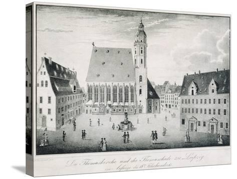 St Thomas Church and St Thomas School in Leipzig, Germany--Stretched Canvas Print