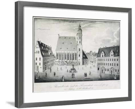 St Thomas Church and St Thomas School in Leipzig, Germany--Framed Art Print