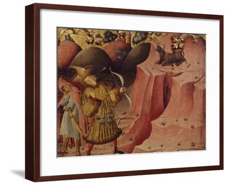 Episode of the Bull, Scene from Left Panel of Altarpiece of St Michael--Framed Art Print
