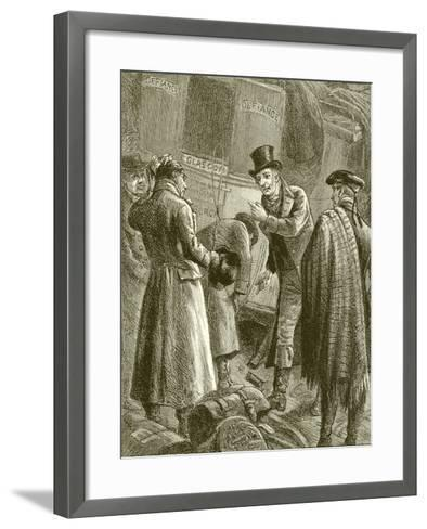 """""""They Began to Examine the Damaged Axle""""--Framed Art Print"""