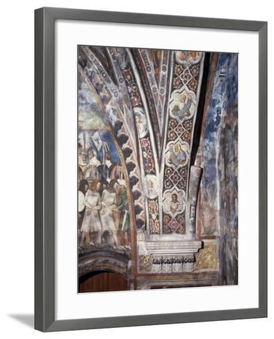 Frescoes on Lower Part of Arch in Upper Church of Sacro Speco Monastery, Subiaco, Italy--Framed Art Print