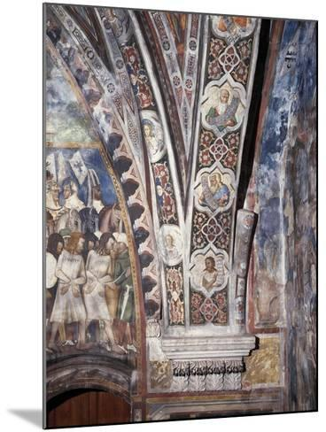 Frescoes on Lower Part of Arch in Upper Church of Sacro Speco Monastery, Subiaco, Italy--Mounted Giclee Print