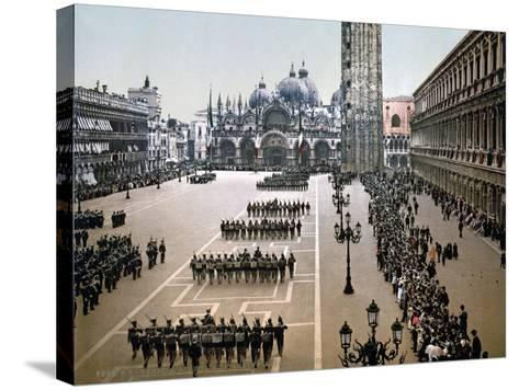 Italian Military Parade in St. Mark's Square in Venice, 1910--Stretched Canvas Print