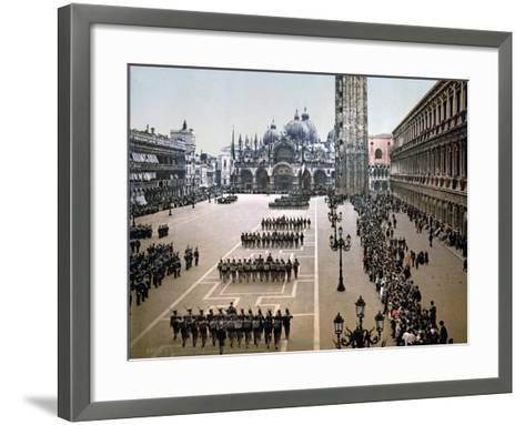 Italian Military Parade in St. Mark's Square in Venice, 1910--Framed Art Print