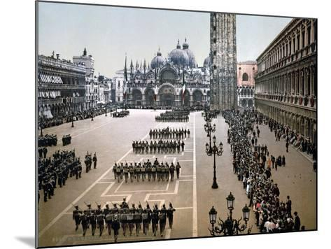 Italian Military Parade in St. Mark's Square in Venice, 1910--Mounted Giclee Print