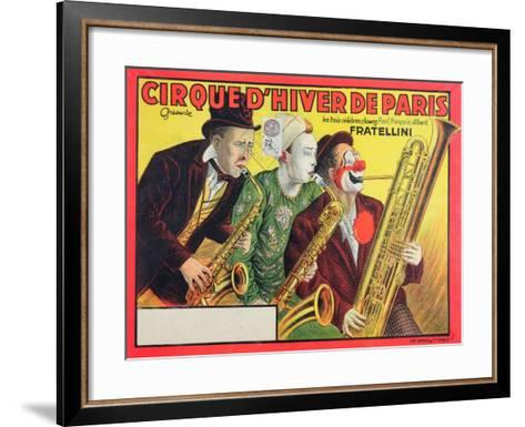 Poster Advertising the 'Cirque D'Hiver De Paris' Featuring the Fratellini Clowns, 1932--Framed Art Print