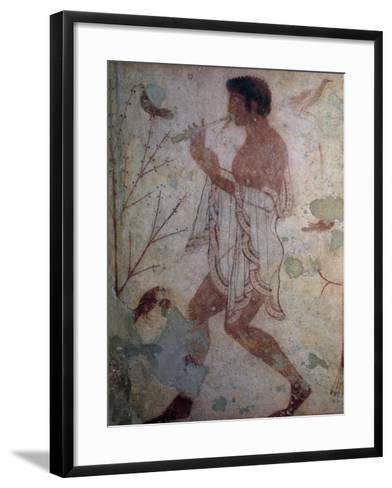 Flute Player, Fresco, Tomb of Triclinium, Monterozzi Necropolis--Framed Art Print