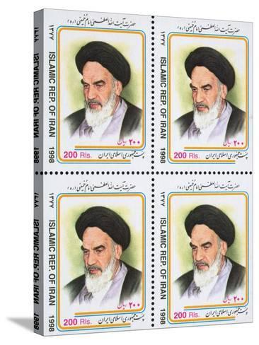 Iranian Postage Stamps with a Portrait of Ruhollah Khomeini--Stretched Canvas Print