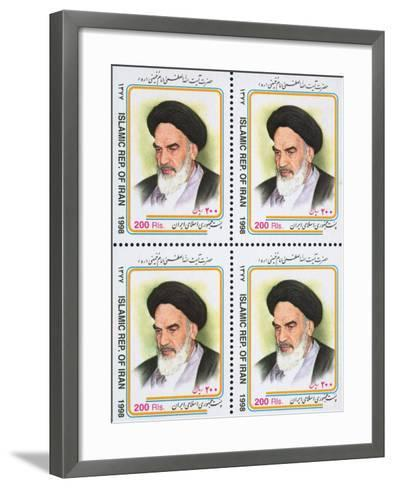 Iranian Postage Stamps with a Portrait of Ruhollah Khomeini--Framed Art Print