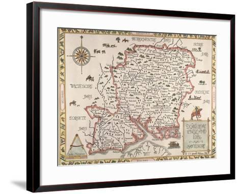 Map of Hampshire--Framed Art Print