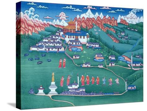 A Monastery in Tibet, Painted by Tibetan Refugees in Nepal--Stretched Canvas Print