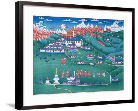 A Monastery in Tibet, Painted by Tibetan Refugees in Nepal--Framed Art Print
