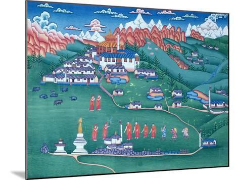 A Monastery in Tibet, Painted by Tibetan Refugees in Nepal--Mounted Giclee Print
