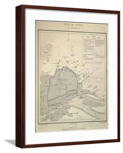 Map of Military Operations During Opium Wars, Taking of Canton, China, December 28-29, 1857--Framed Art Print