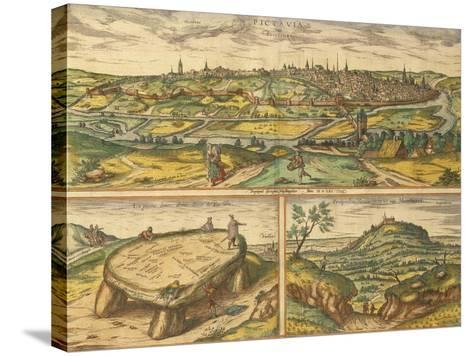 Dolmen Near Poitiers and City of Poitiers and Montherre from Civitates Orbis Terrarum--Stretched Canvas Print