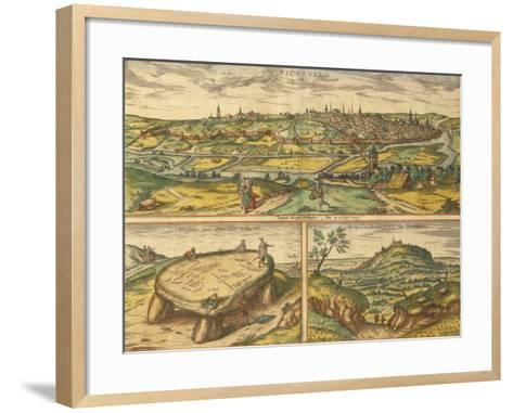 Dolmen Near Poitiers and City of Poitiers and Montherre from Civitates Orbis Terrarum--Framed Art Print