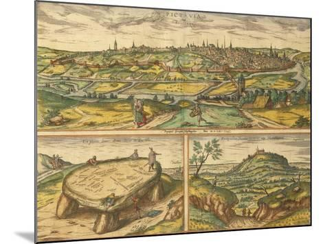 Dolmen Near Poitiers and City of Poitiers and Montherre from Civitates Orbis Terrarum--Mounted Giclee Print