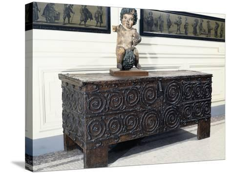Wood and Iron Chest from Basilica of St. Denis, France, 13th Century--Stretched Canvas Print