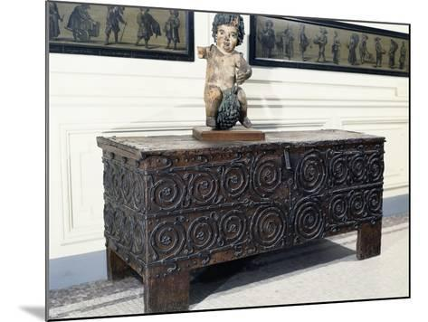 Wood and Iron Chest from Basilica of St. Denis, France, 13th Century--Mounted Photographic Print