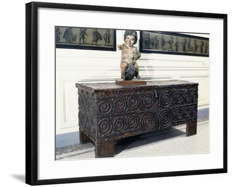 Wood and Iron Chest from Basilica of St. Denis, France, 13th Century--Framed Art Print