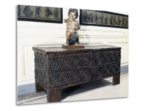 Wood and Iron Chest from Basilica of St. Denis, France, 13th Century--Metal Print