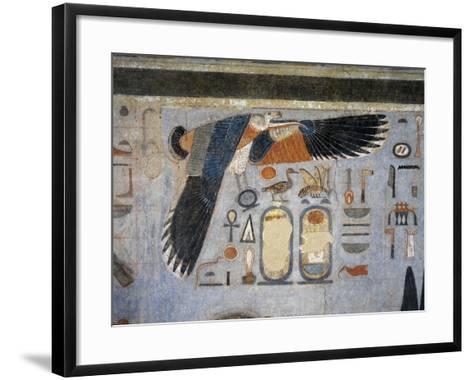 Mural Paintings of Vulture Goddess Nekhbet Grasping Amulet in Claws for Protection--Framed Art Print