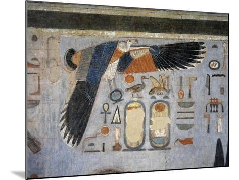Mural Paintings of Vulture Goddess Nekhbet Grasping Amulet in Claws for Protection--Mounted Giclee Print