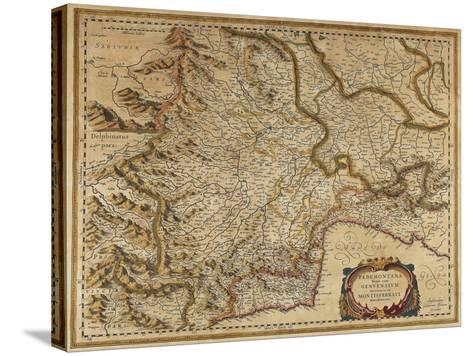Piedmont, Monferrato and Liguria Regions, Map by Gerhard Kremer, from Regionum Italiae--Stretched Canvas Print