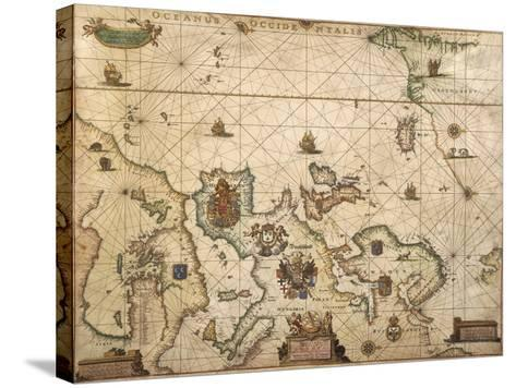 European Coast, Map on Parchment by Willem and Joan Blaeu, 1677--Stretched Canvas Print