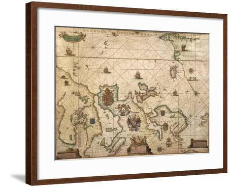 European Coast, Map on Parchment by Willem and Joan Blaeu, 1677--Framed Art Print