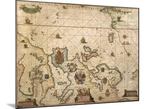 European Coast, Map on Parchment by Willem and Joan Blaeu, 1677--Mounted Giclee Print