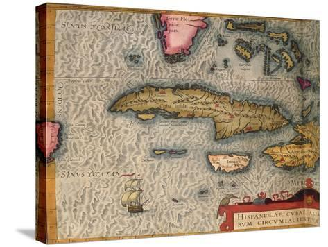 Map of Cuba and Jamaica, from Theatrum Orbis Terrarum by Abraham Orteliused in Antwerp, 1570--Stretched Canvas Print