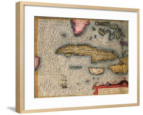 Map of Cuba and Jamaica, from Theatrum Orbis Terrarum by Abraham Orteliused in Antwerp, 1570--Framed Art Print