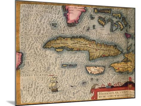 Map of Cuba and Jamaica, from Theatrum Orbis Terrarum by Abraham Orteliused in Antwerp, 1570--Mounted Giclee Print