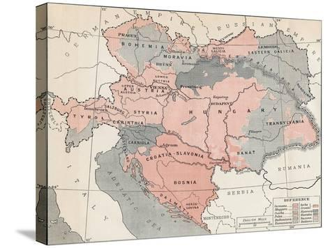 Map of Austria-Hungary in 1878--Stretched Canvas Print