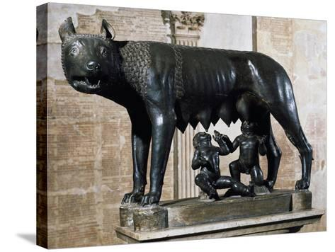 Capitoline Wolf, Bronze Sculpture from Veii--Stretched Canvas Print