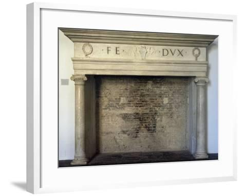 Fireplace, Detail from Throne Room, Ducal Palace, Urbino--Framed Art Print
